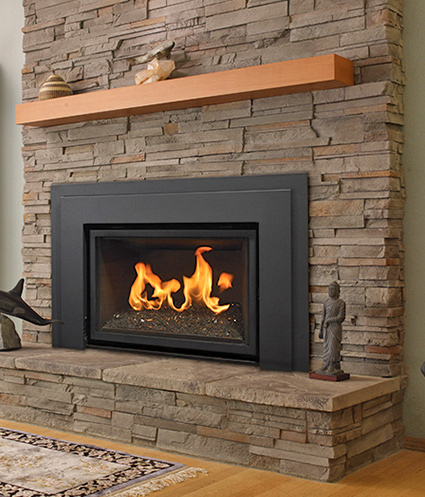 Gas fireplace inserts modern gas burning inserts fort for Contemporary fireplace insert