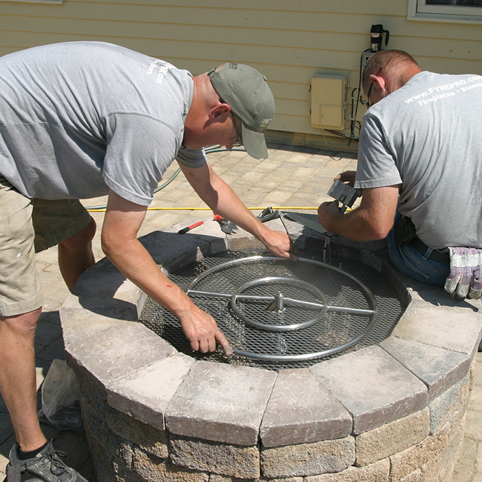Custom Gas Firepit Being Installed at Home in Fort Collins CO