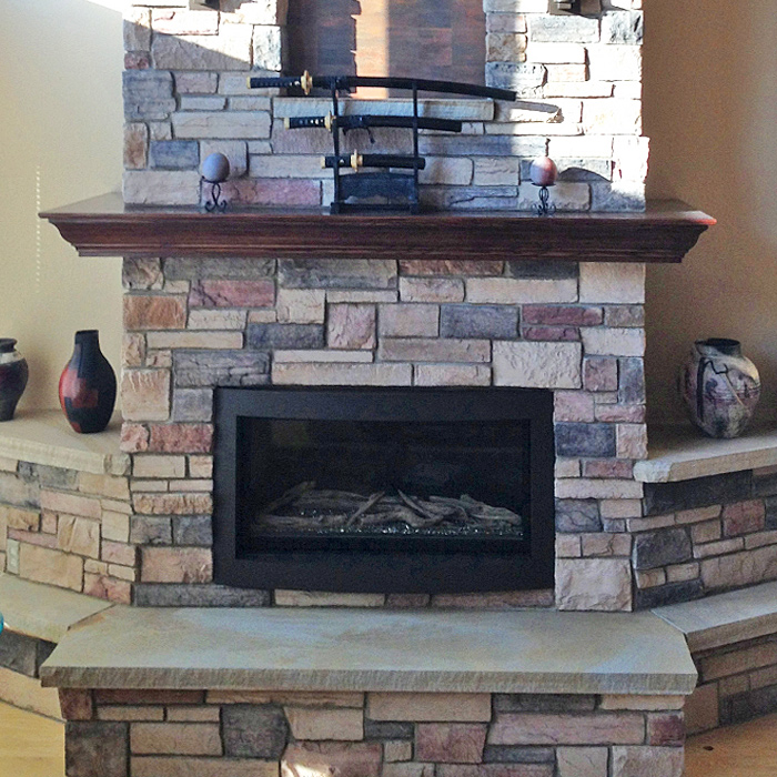 Linear Fireplace Install - Stack stone surround - Boulder CO