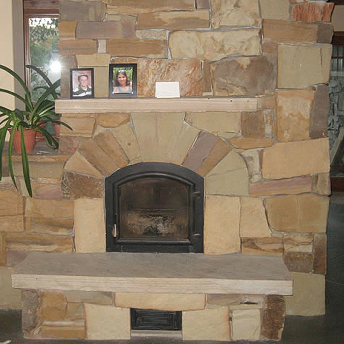 Custom Wood Fireplace & Stone Surround - Fort Collins CO