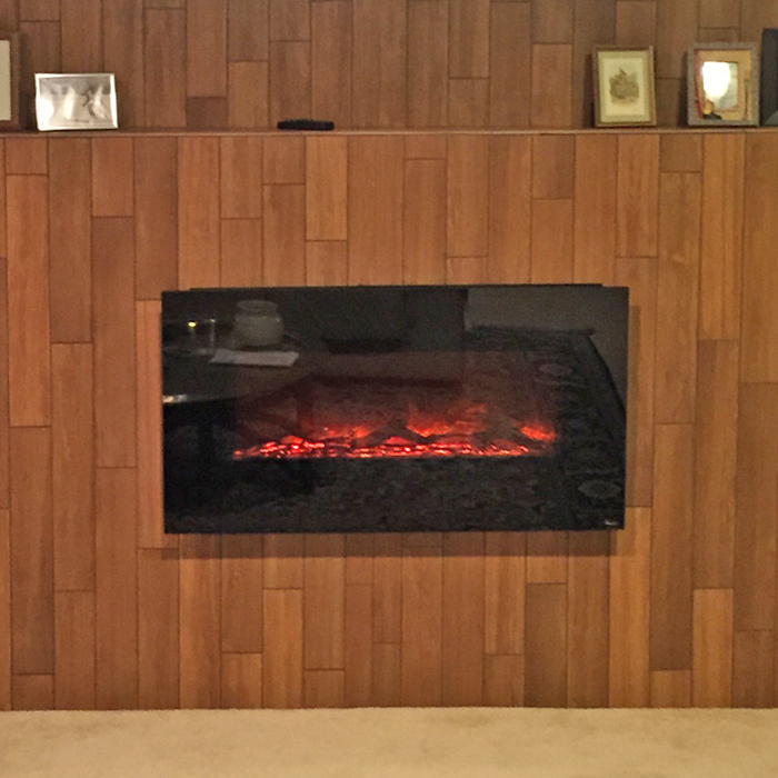 electric linear fireplace near wellington co and longmont installed