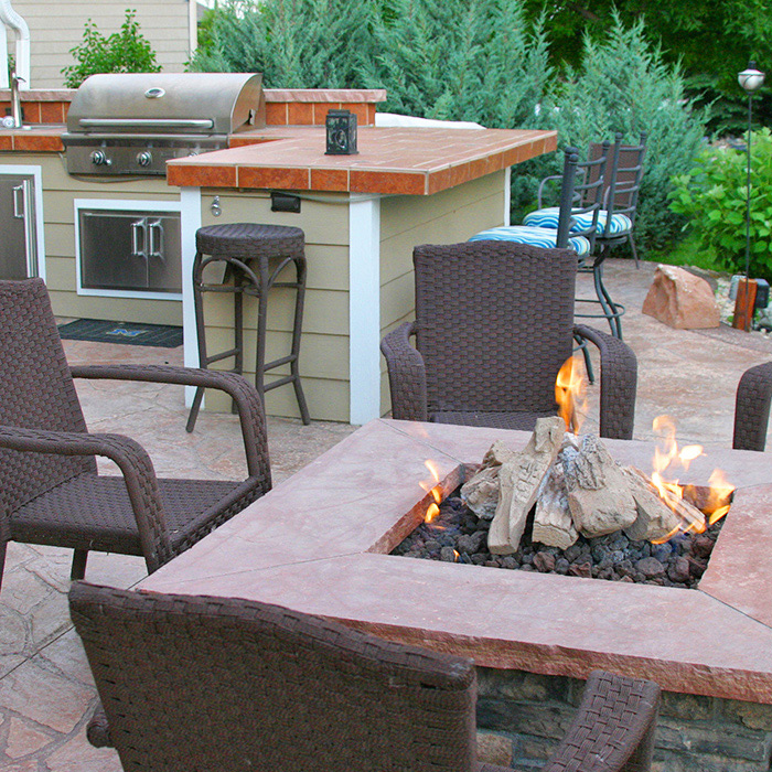 Ft Collins Firepit and outdoor bbq kitchen with sink
