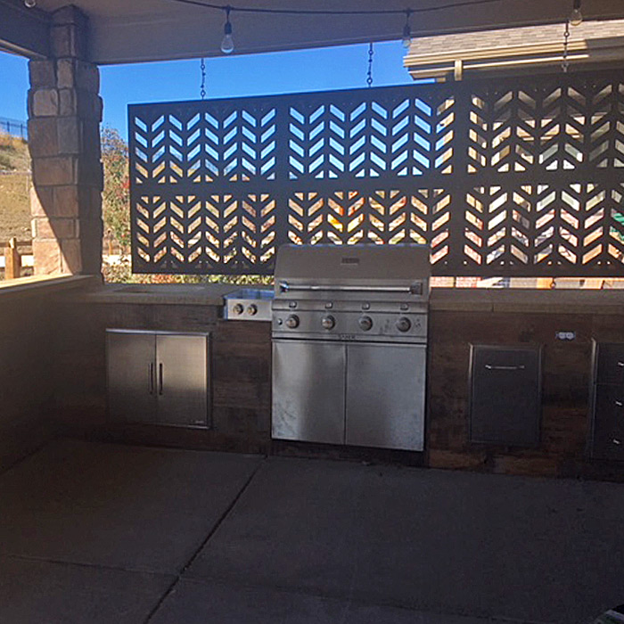 Outdoor kitchen in Windsor CO installed with built-in gas grill