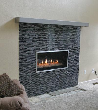 fireplace insert construction on fireplace surround
