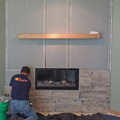 new fireplace surround construction